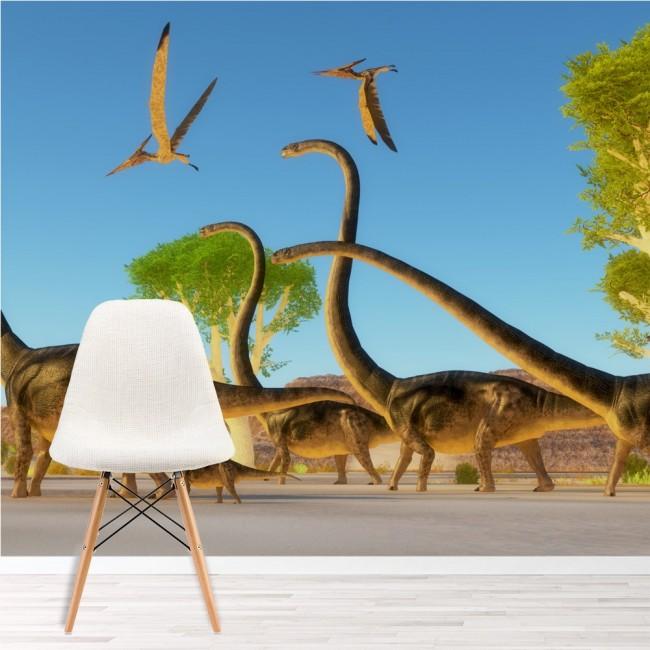 Brontosaurus Fototapete Dinosaurier Tapete Kinderzimmer Foto