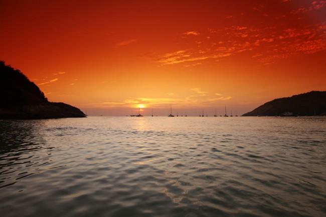 Orange Sonnenuntergang Fototapete Thailand Ozean Tapete Schlafzimmer Foto  Inneneinrichtungen