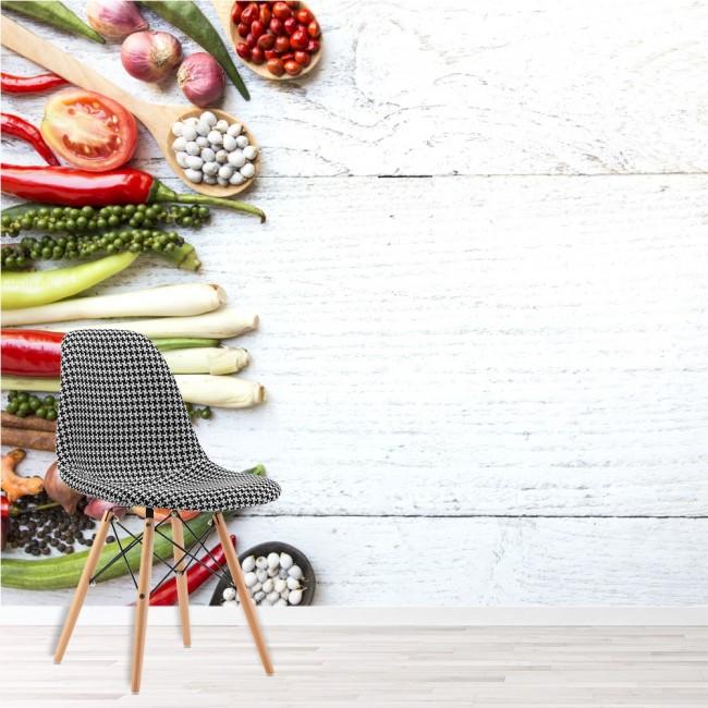 Thai Gemüse & Gewürze Wandbild Essen & Trinken Tapete Küche Foto-Dekor
