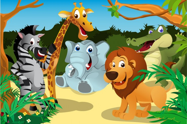 Safari Tiere Fototapete Dschungel Tapete Kinder Schlafzimmer Nursey Foto  Inneneinrichtungen
