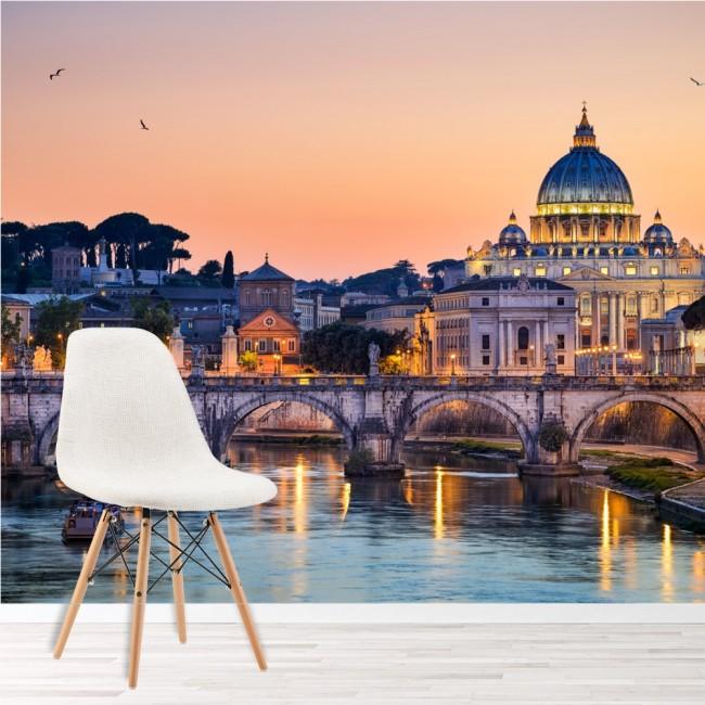 Skyline Wandbild Italienischer Sonnenuntergang Tapete Schlafzimmer ...