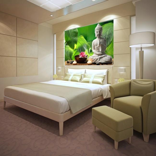 Buddha Schlafzimmer buddha figur wandbild grüner hintergrund tapete schlafzimmer foto