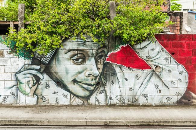 Afro Graffiti Fototapete Straßenkunst Tapete Kinderzimmer Foto  Inneneinrichtungen