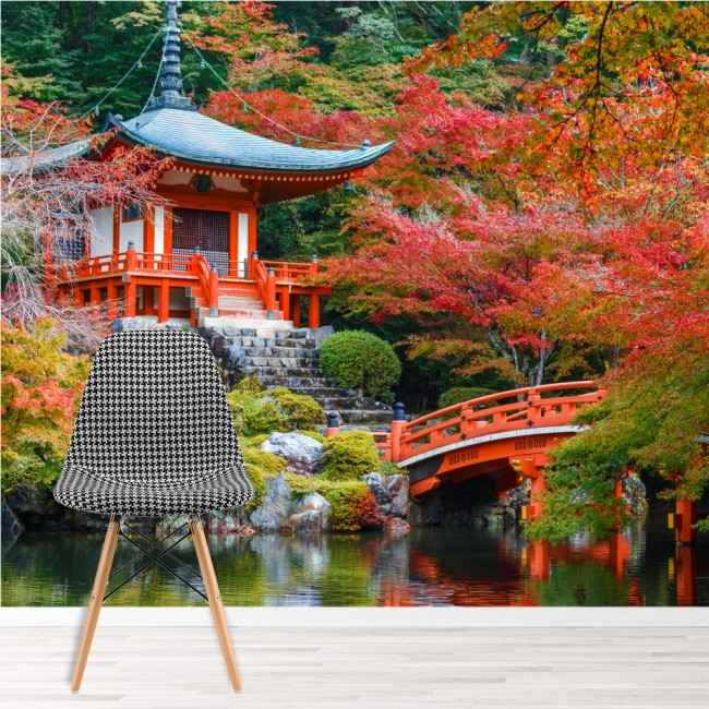 alte japanische tempel wandbild rote b ume tapete religion. Black Bedroom Furniture Sets. Home Design Ideas
