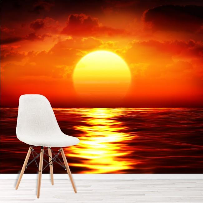 Roter Sonnenuntergang Fototapete Ozean Seascape Tapete Wohnzimmer  Schlafzimmer Foto-Dekor
