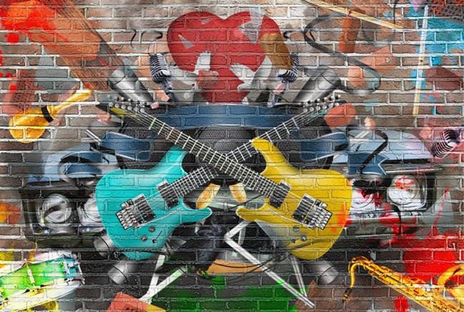 Tapete Vlies Fototapete Musik Graffiti Ziegelwand