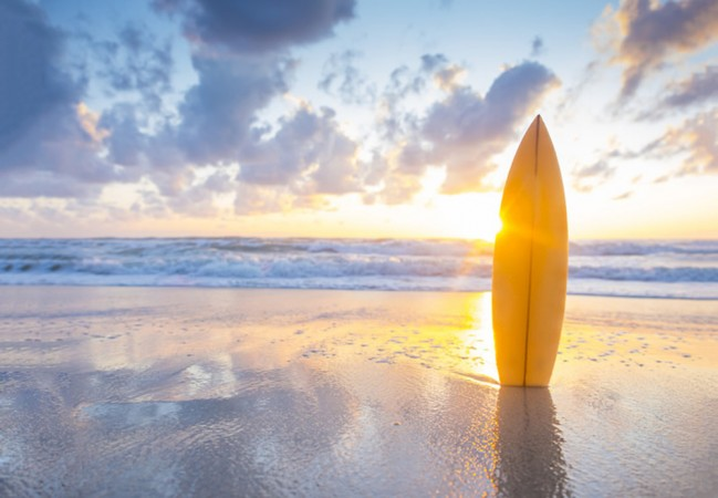 Surf-Sonnenuntergang Fototapete Strand Tapete Wohnzimmer ...