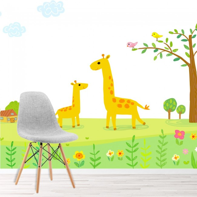 giraffen b ume wandbild blumen tapete m dchen jungen kinderzimmer foto dekor. Black Bedroom Furniture Sets. Home Design Ideas