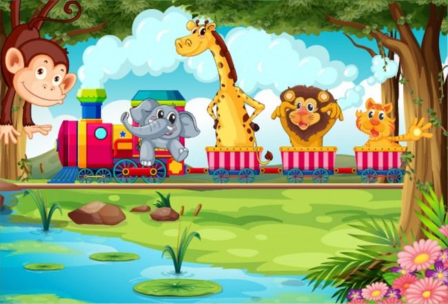 Rosa Zug Fototapete Dschungel Tiere Tapete Kinder Kinderzimmer