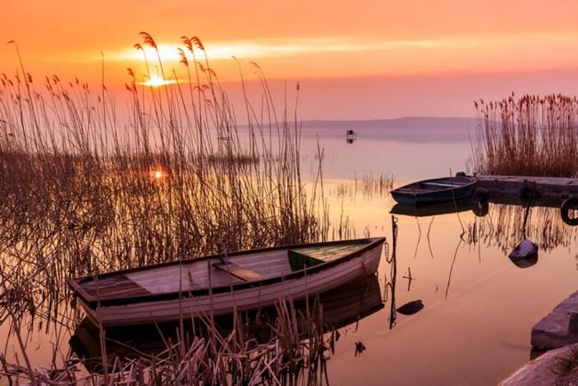Orange Sonnenuntergang Fototapete Ruhige Landschaft Tapete ...
