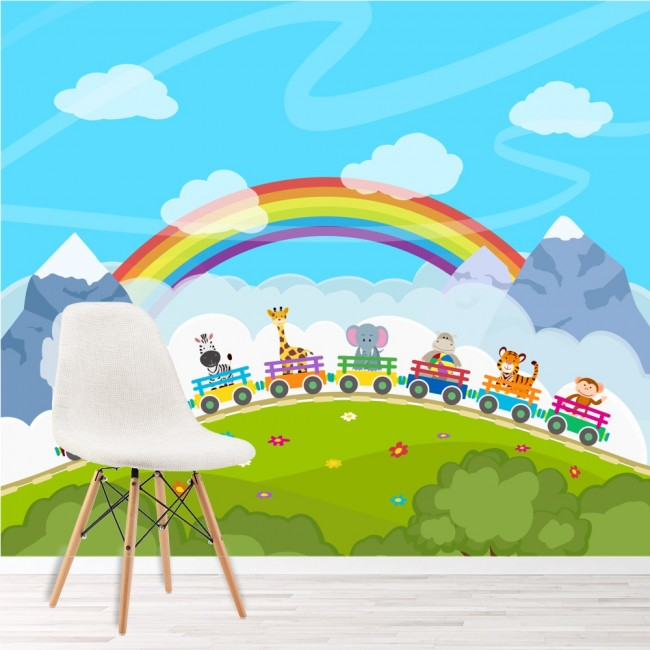 Tierzug Fototapete Regenbogen Tapete Kinder Kinderzimmer Spielzimmer Foto  Inneneinrichtungen