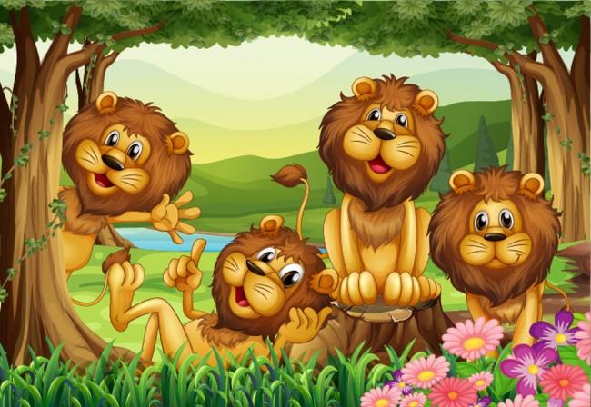 Netter Lowe Fototapete Dschungel Tiere Tapete Kinderzimmer