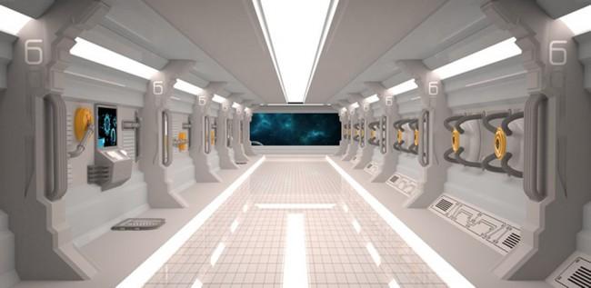Futuristisches Raumschiff Fototapete 3D Tapete Kinderzimmer Foto  Inneneinrichtungen