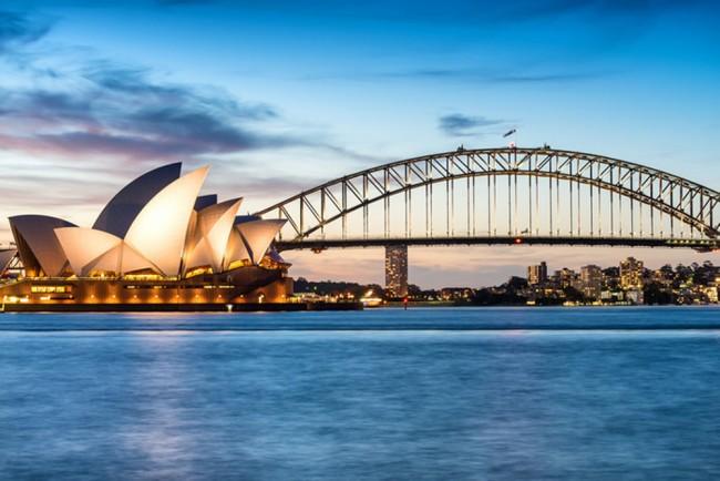 Sydney Sonnenuntergang Fototapete Blaue Stadt Skyline Tapete ...