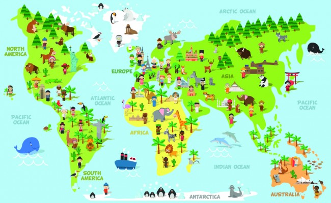 Childrens World Map Educational Wallpaper Wall Mural