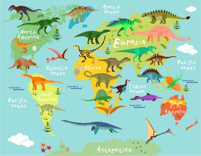 Dinosaur World Map Wallpaper Wall Mural