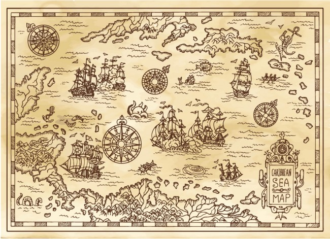 Ancient Pirate Map Caribbean Sea Wallpaper Wall Mural