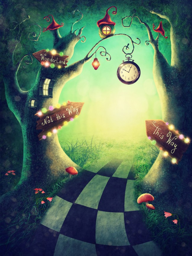 Alice In Wonderland Wallpaper.To The Enchanted Wood Alice In Wonderland Wallpaper Wall Mural