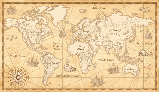 Vintage Parchment World Map Wallpaper Wall Mural