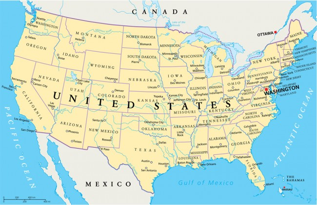United States Of America Map Wallpaper Wall Mural