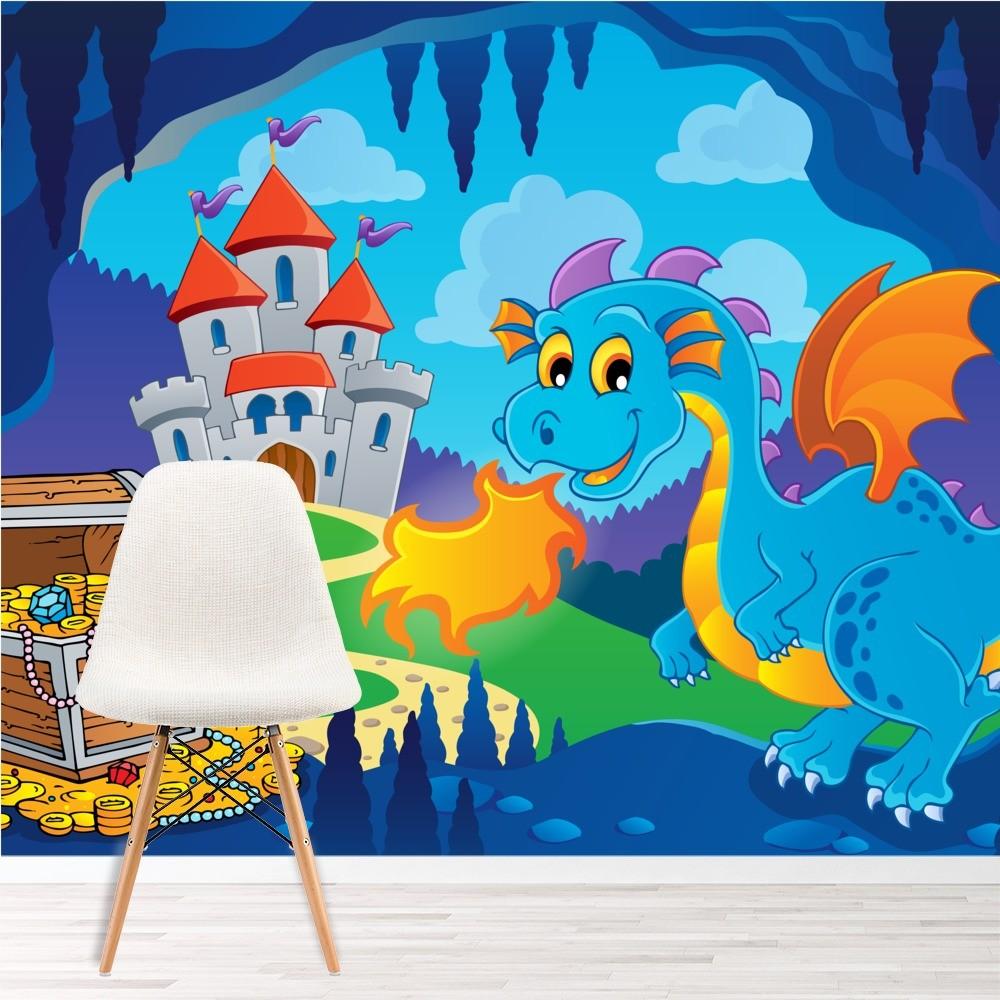 Blauer Drache Wandbild Schloss Schatz Tapete Jungen Schlafzimmer Foto Inneneinrichtungen