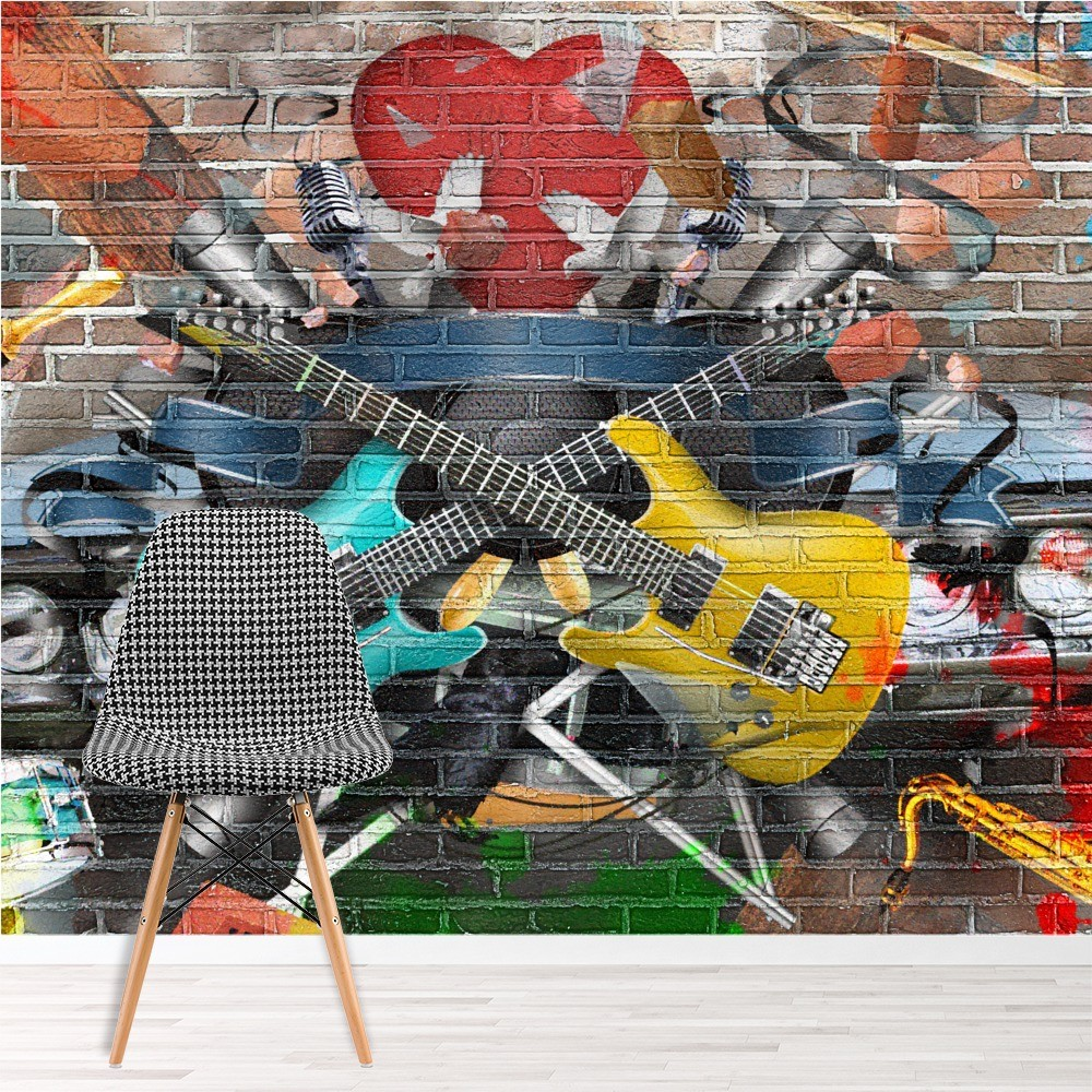 gitarre musik fototapete graffiti tapete kinderzimmer foto inneneinrichtungen. Black Bedroom Furniture Sets. Home Design Ideas