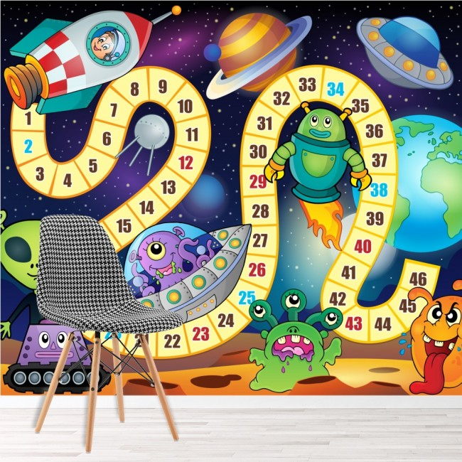 alien space papier peint jeu amusant papier peint salle de jeux de chambre pour enfants d cor photo. Black Bedroom Furniture Sets. Home Design Ideas