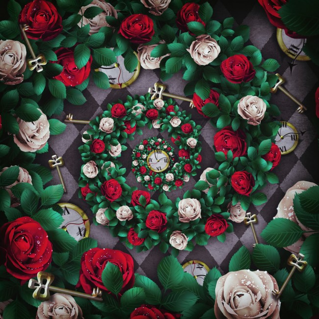 Roses Pocket Watch Alice Wonderland Wallpaper Wall Mural