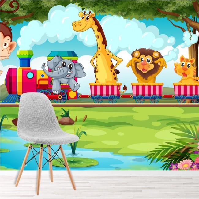 Tren rosa Fotomurales Animales de la selva murales pared Sala de