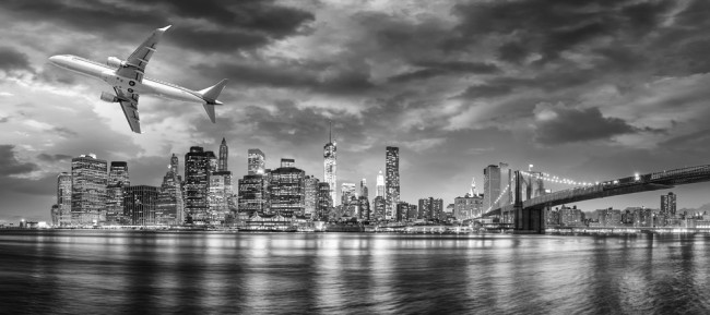 New York City Black White Panoramic Wallpaper Wall Mural