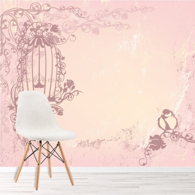 Pink Vintage Birdcage Wallpaper Wall Mural
