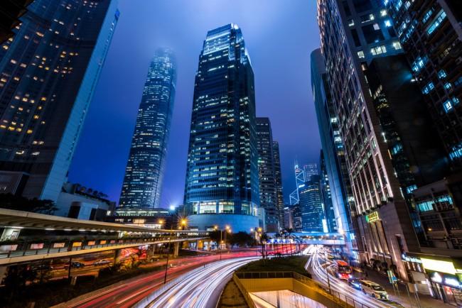 Hong Kong At Night Urban City Skyline Wallpaper Wall Mural