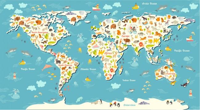 Animal World Map Childrens Wallpaper Wall Mural