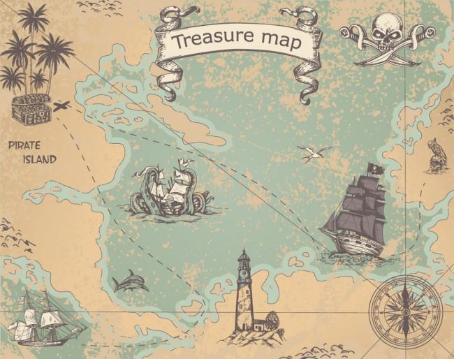 Treasure Map Pirate Wallpaper Wall Mural
