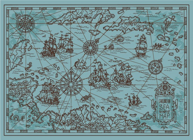 Blue Pirate Map Caribbean Sea Wallpaper Wall Mural