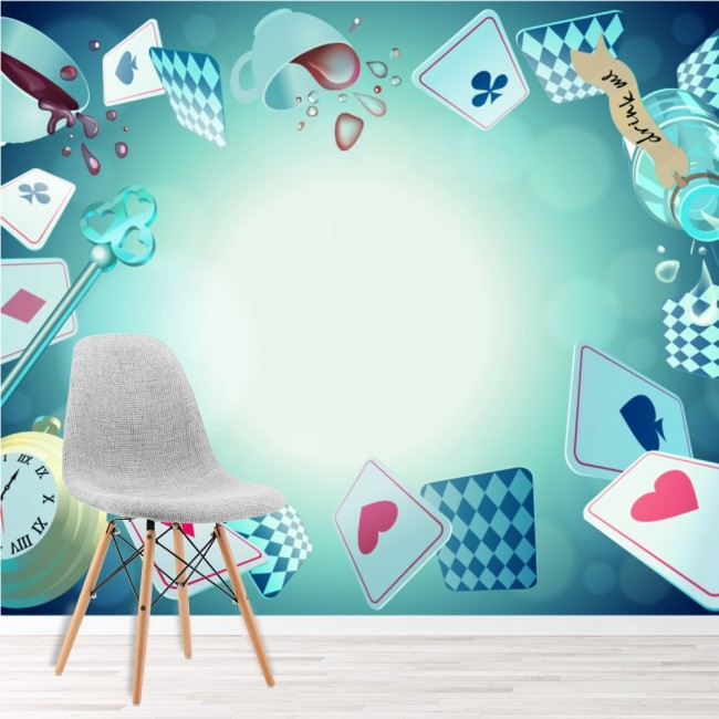 Alice In Wonderland Cards Potions Wallpaper Wall Mural
