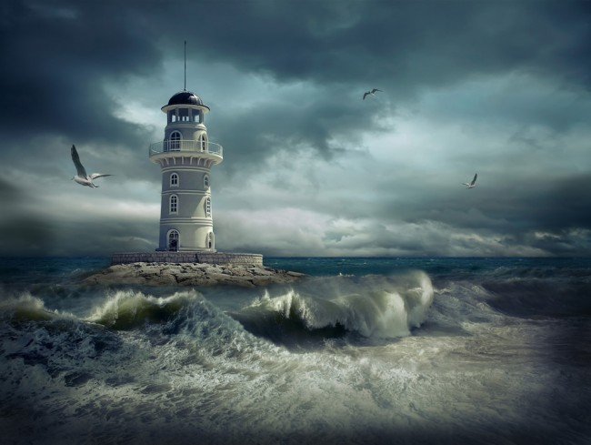 Lighthouse In The Storm Wallpaper Wall Mural