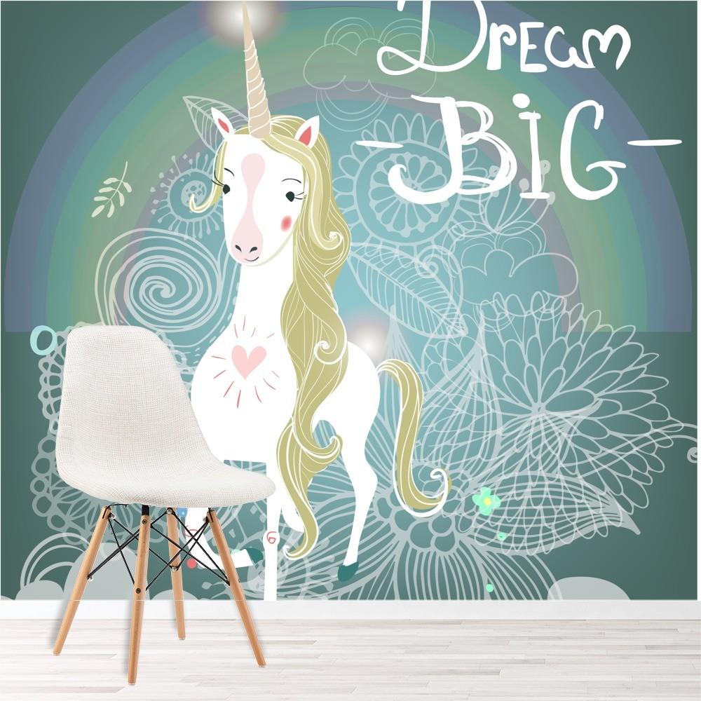 Unicornio blanco fotomurales sue o grande murales pared - Murales para habitacion ...