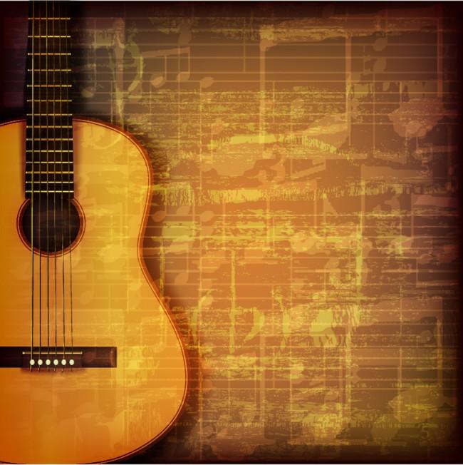 Chitarra e foglio di musica Fotomurali Musica depoca Carta Da Parati ...