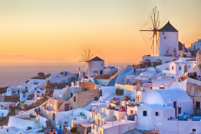 Santorini Tramonto Fotomurali Grecia Carta Da Parati Soggiorno ...