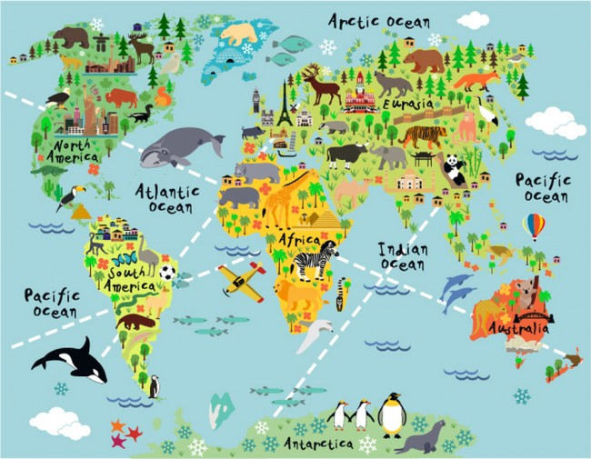 Animal World Map Wallpaper Wall Mural