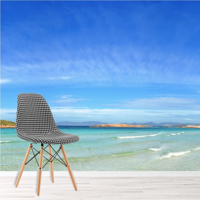 Beach wall mural formentera island wallpaper bedroom for Beach mural wallpaper