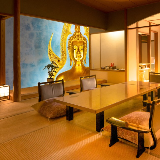 Golden buddha wall mural religion wallpaper bedroom photo for Buddha decorations for the home uk