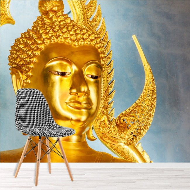 Golden buddha statue wall mural religion wallpaper bedroom for Buddha decorations for the home uk