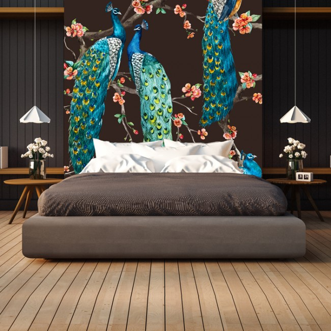 Blue Peacock Wall Mural Pink Cherry Blossom Wallpaper Bedroom Photo