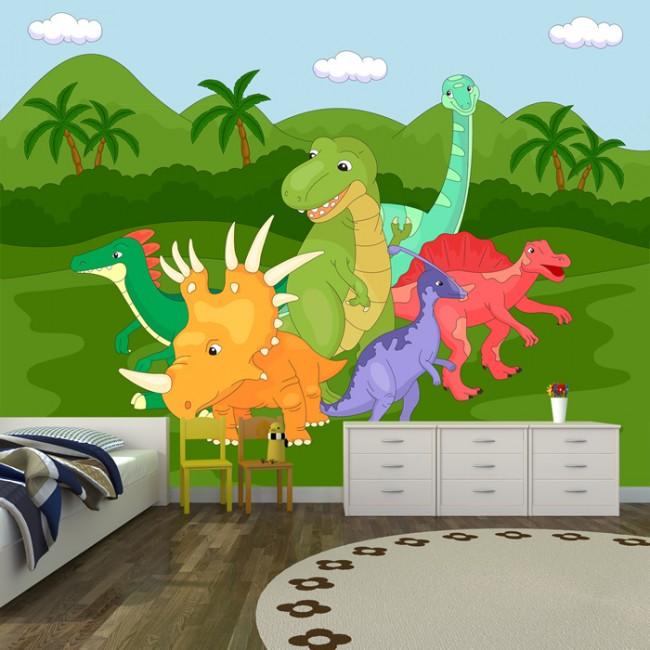 Fun dinosaur group wall mural jurassic wallpaper kids for Dinosaur mural wallpaper