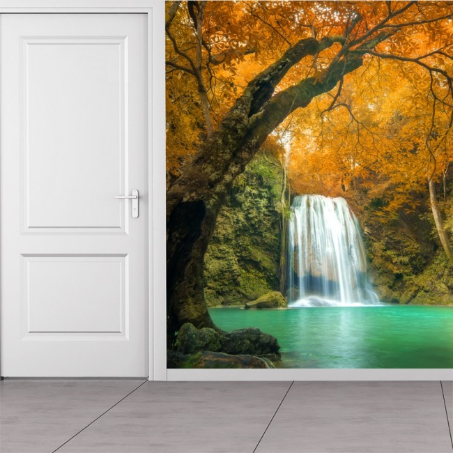 Waterfall Orange Trees Wall Mural Thailand Wallpaper Bedroom Photo Home  Decor