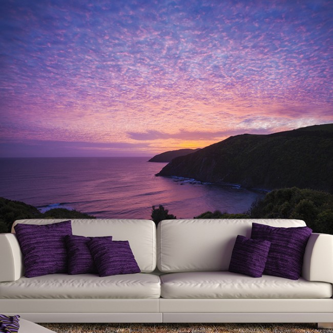 Purple Ocean Wall Mural New Zealand Sunset Wallpaper Bedroom Photo Home Decor
