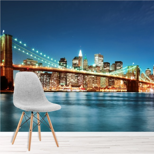 Brooklyn bridge new york wall mural city skyline wallpaper for New york city decor
