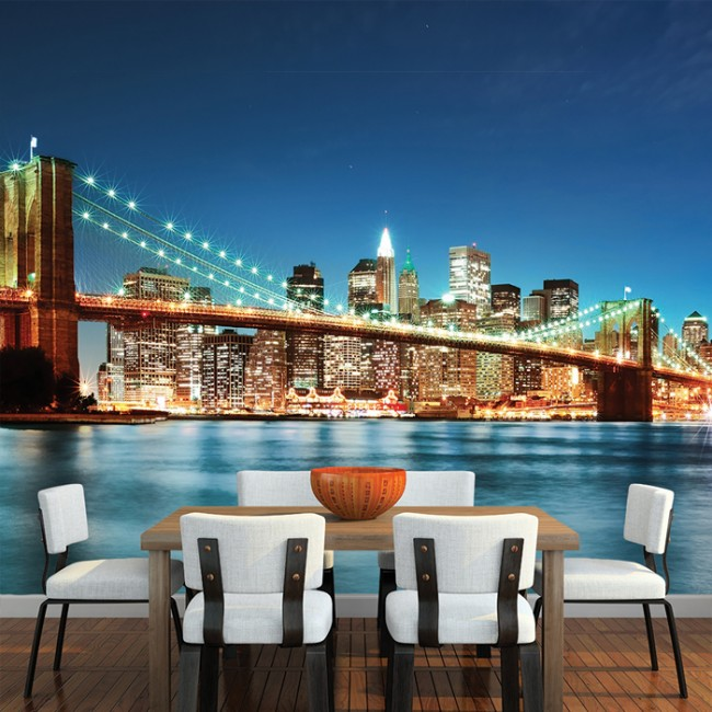 Brooklyn bridge new york wall mural city skyline wallpaper for Brooklyn bridge mural wallpaper